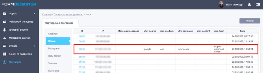 Анализ кликов в партнерском кабинете