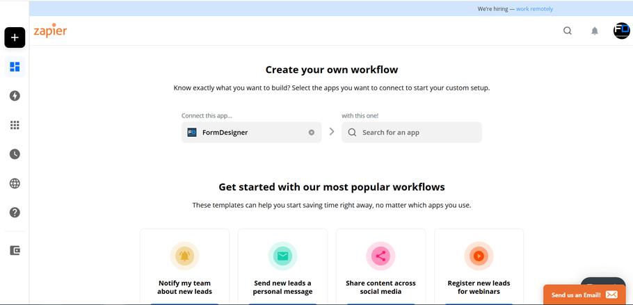 Подключите FormDesigner к сотням других приложений с помощью Zapier 1