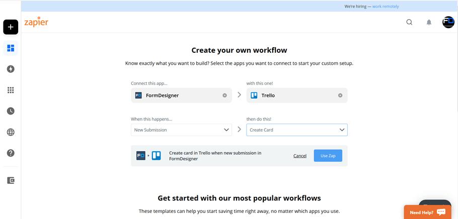 Подключите FormDesigner к сотням других приложений с помощью Zapier 3
