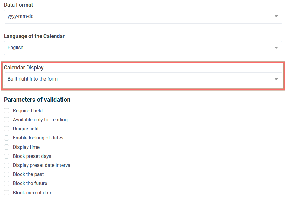 Further in the validation parameters you need to enable the following options
