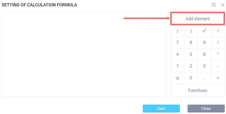 Setting up the calculation formula