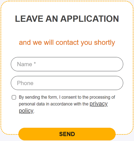 An order form for a landing page