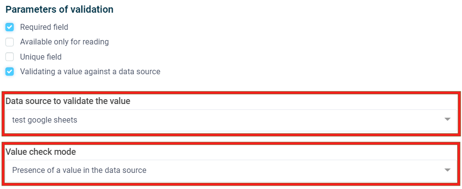 Selecting the data source and the value validation mode