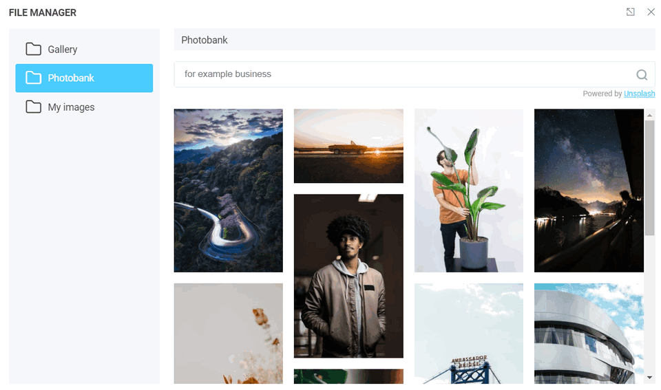 Photobank with an image search bar