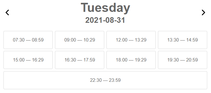 Display only active time in calendar